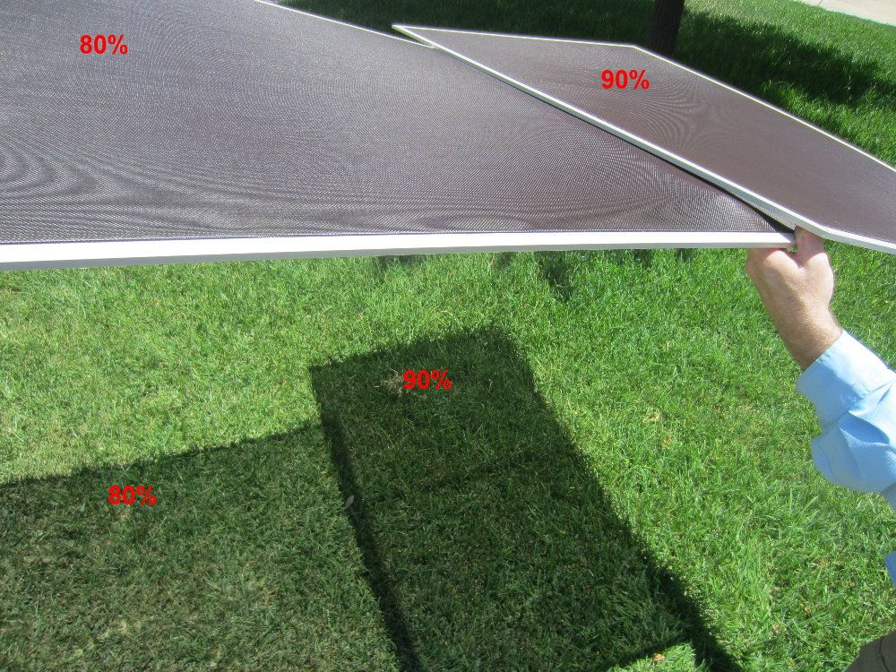 Showing the shading difference between a 80% and 90% fabric solar screens on a textured surface.  Solar screens are the #1 effective way to lower your room temperatures.