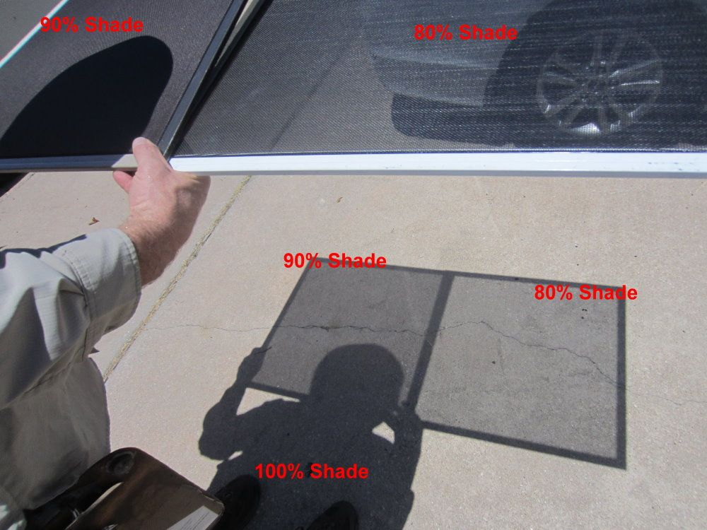 Comparing the 80% and 90% fabric solar screens.  Look at all of this shade, that show you how effective solar screens are.